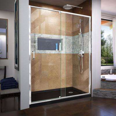 Flex 56 to 60 in. x 72 in. Framed Pivot Shower Door in Chrome