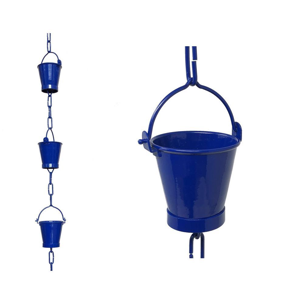 8.5 ft. Blue Aluminum Bucket Rain Chain