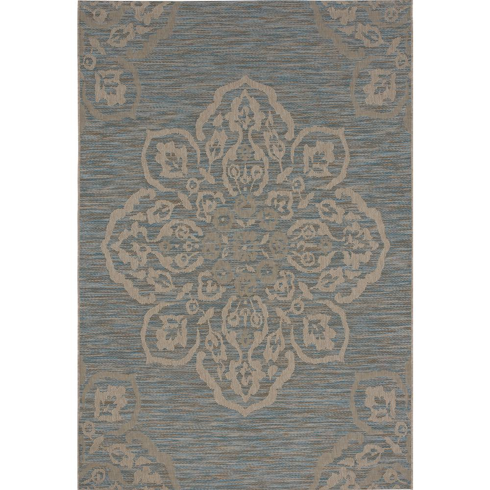Hampton Bay Medallion Turquoise 5 Ft X 7 Ft Indoor