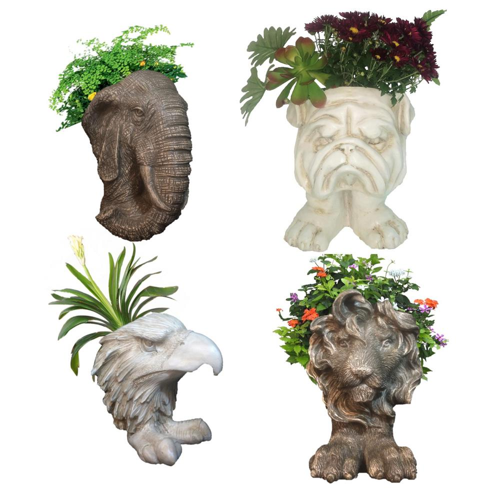 Homestyle Muggly Mascot Small Animal Statue Planters (Lio...