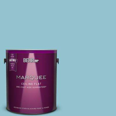 1 gal. #MQ6-32 Tinted to Cosmic Blue One-Coat Hide Flat Interior Ceiling Paint and Primer in One