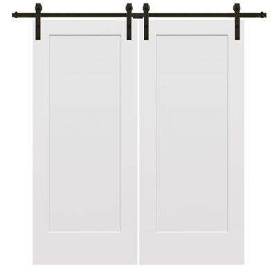 64 in. x 80 in. Smooth Madison Primed Composite Double Barn Door with Oil Rubbed Bronze Sliding Door Hardware Kit