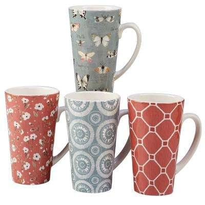 Country Weekend 4-Piece Multi-Colored 18 oz. Latte Mug Set