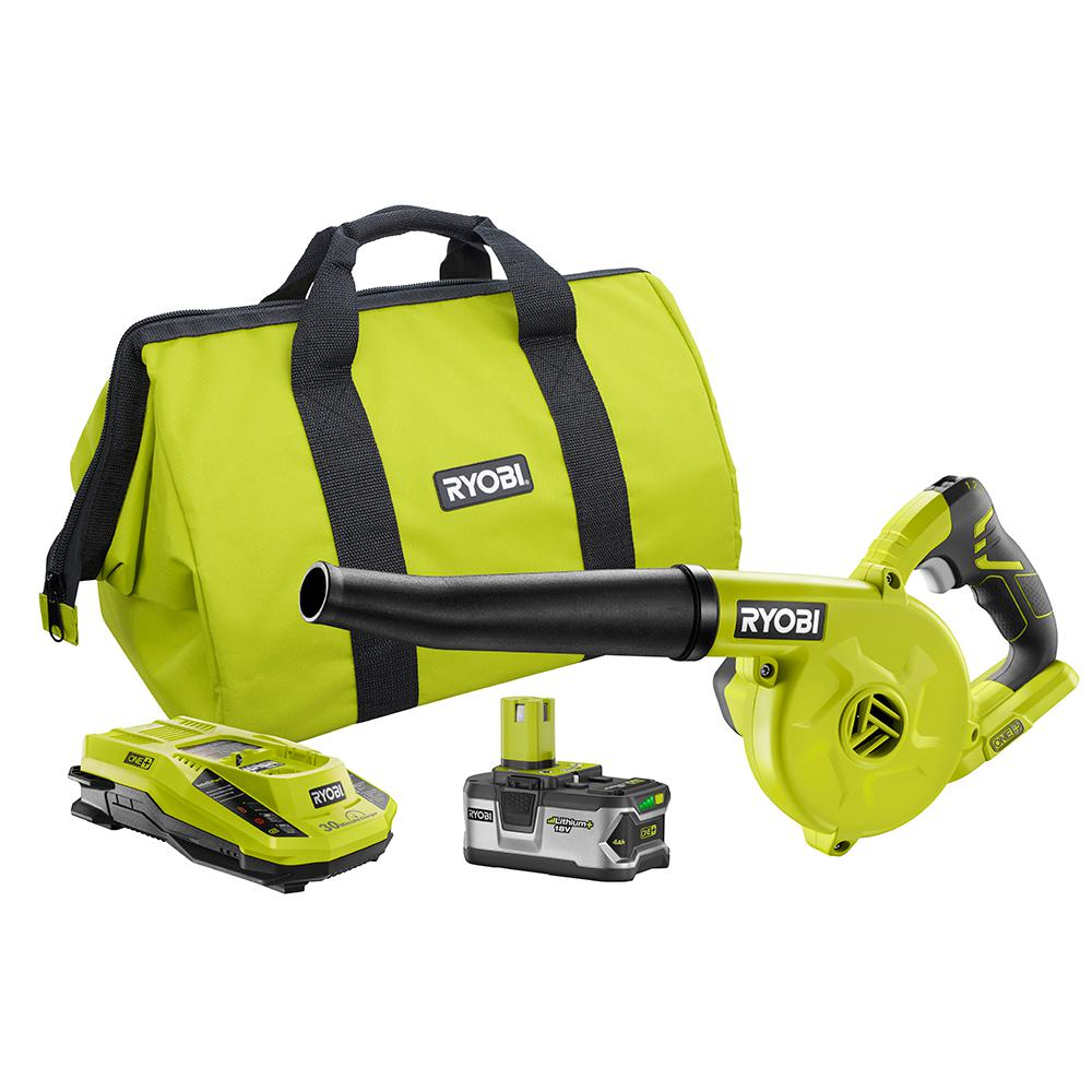 RYOBI 18-Volt ONE+ Lithium-Ion Cordless Workshop Blower Kit with 4.0 Ah LITHIUM+ Battery, Dual Chemistry Charger, and Bag