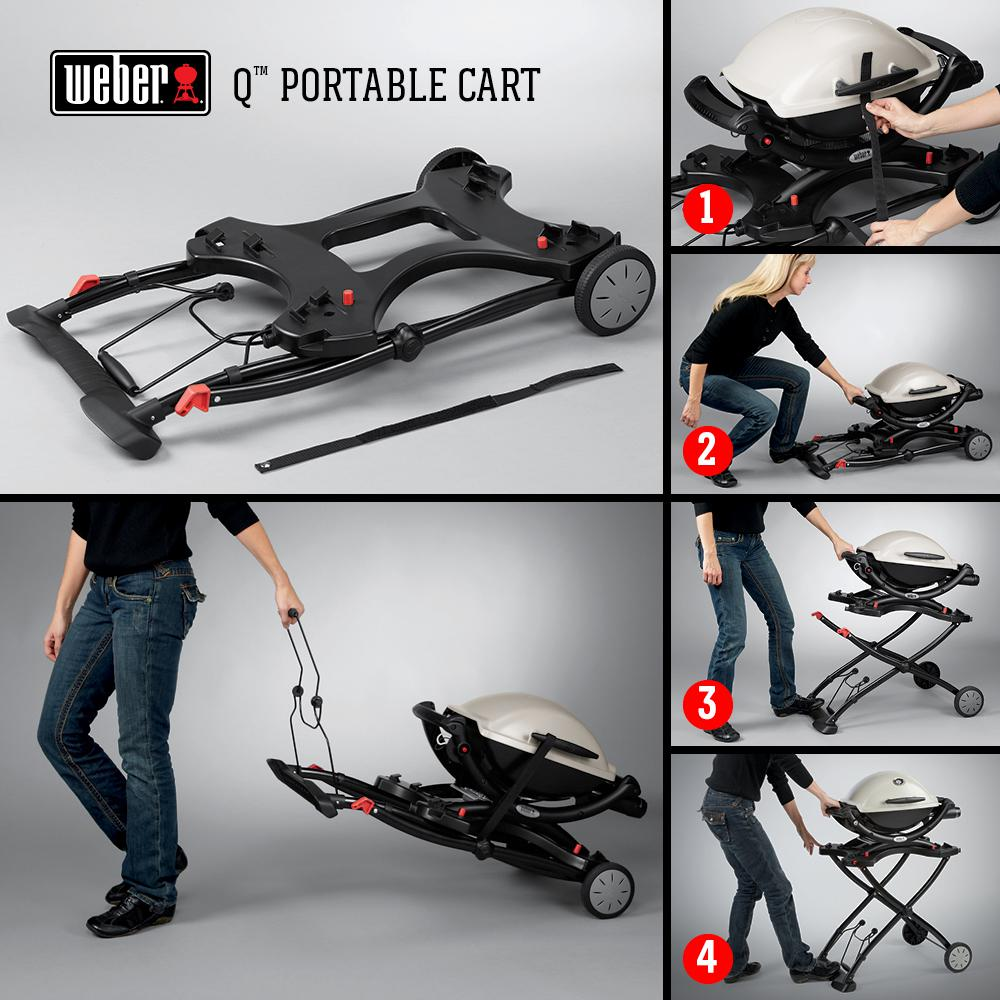 weber q portable rolling gas grill cart stand grilling. Black Bedroom Furniture Sets. Home Design Ideas