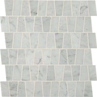 Carrara White Trapezoid Pattern 12 in. x 12 in. x 10 mm Polished Marble Mesh-Mounted Mosaic Tile (10 sq. ft. / case)