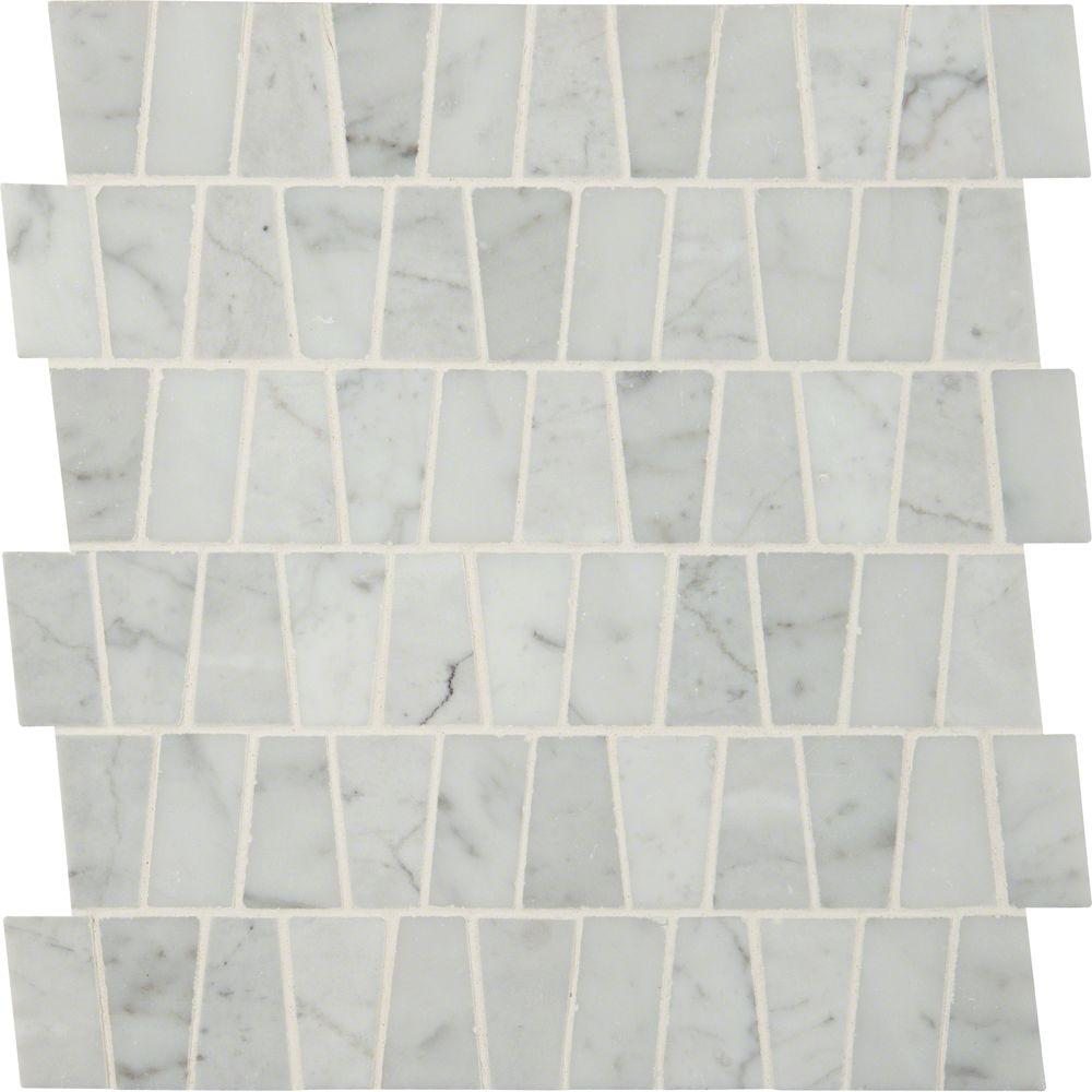 MSI Carrara White Trapezoid Pattern 12 in. x 12 in. x 10 mm Polished ...