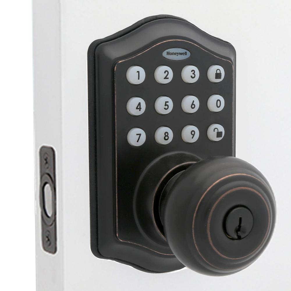 Honeywell Oil Rubbed Bronze Keypad Electronic Knob Entry Door Lock