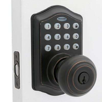 Oil Rubbed Bronze Keypad Electronic Knob Entry Door Lock with Alarm