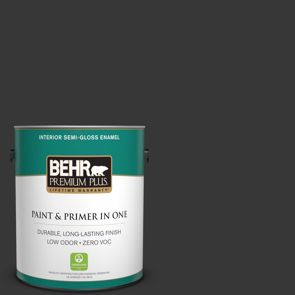 BEHR Premium Plus 1 gal. #ECC-25-3 Obsidian Stone Semi-Gloss Enamel Zero VOC Interior Paint and Primer in One
