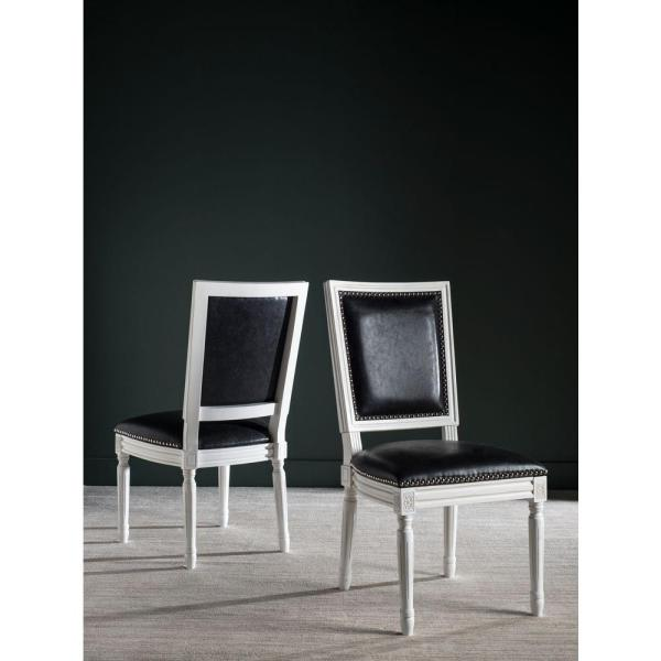 Safavieh Buchanan Black and Cream Bicast Leather Dining Chair (Set of 2)