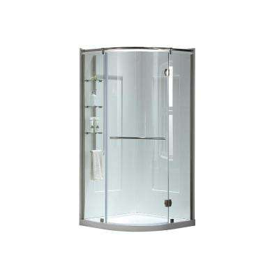 Amber 38 in. x 38 in. x 81 in. Corner Shower Kit in White and Satin Nickel