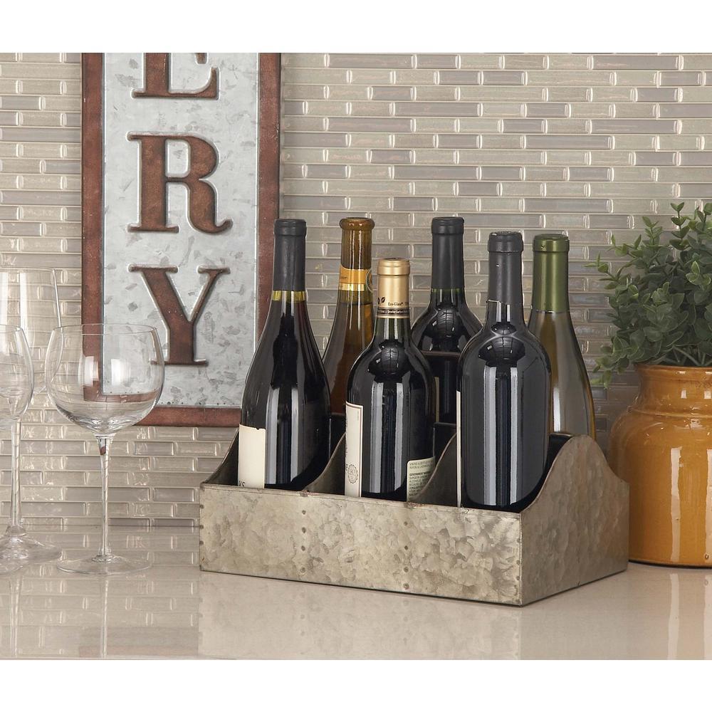 12 in. x 7 in. Metallic Gray 6-Bottle Wine Holder