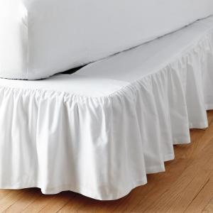 Cal King Bed Skirt.Simple Tuck 21 In Gathered Solid White California King Bed Skirt