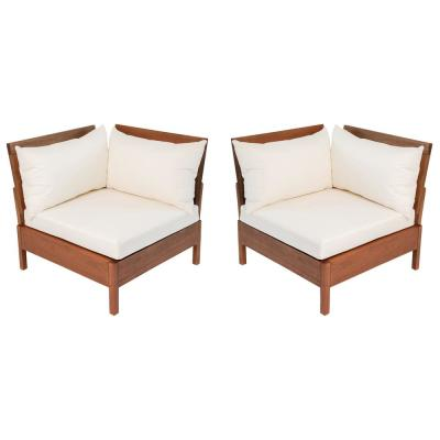 Grass Eucalyptus Wood Outdoor Corner Chair with Cream Cushions (Set of 2)
