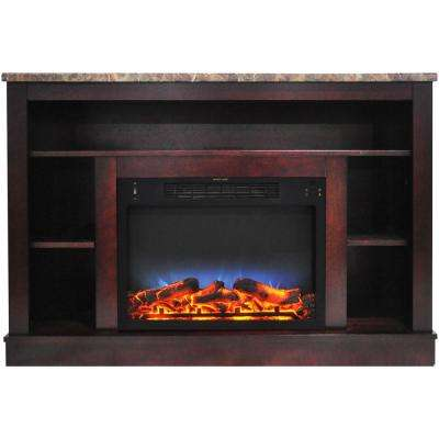 Oxford 47 In. Electric Fireplace with a Multi-Color LED Insert and Mahogany Mantel