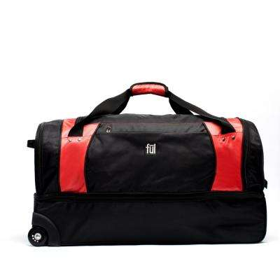 XPEDITION 30 in. Black/Red Rolling Duffel Bag Retractable Pull Handle Split Level Storage