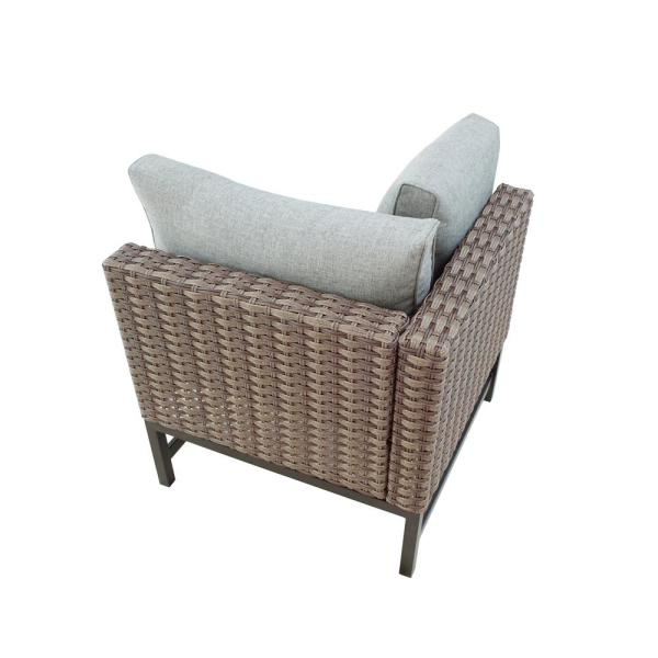 Wicker Right Arm Outdoor Sectional Chair with Gray Cushions