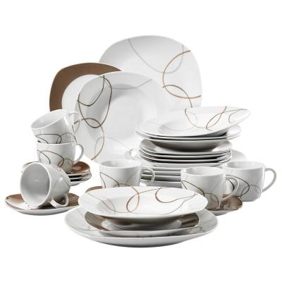 NIKITA 30-Piece Porcelain White Dinner Plates Dish Set Cups and Saucers Set (Service for 6)