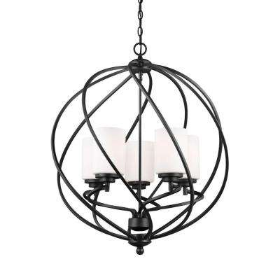 Goliad 25 in. W. 5-Light Blacksmith Hall-Foyer Pendant