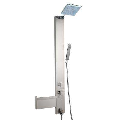 48 in. Shower Panel System in Stainless Steel with Rainfall Shower Head Shampoo Holder Handshower Wand