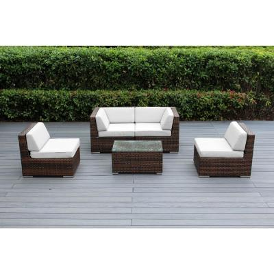 Ohana Mixed Brown 5-Piece Wicker Patio Seating Set with Sunbrella Natural Cushions