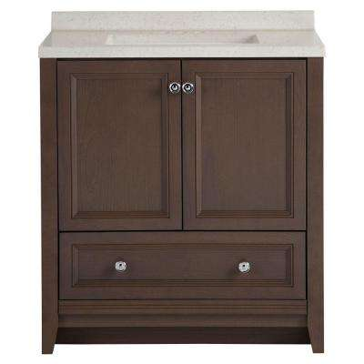 Delridge 30 in. W x 19 in. D Bathroom Vanity in Flagstone with Solid Surface Vanity Top in Titanium