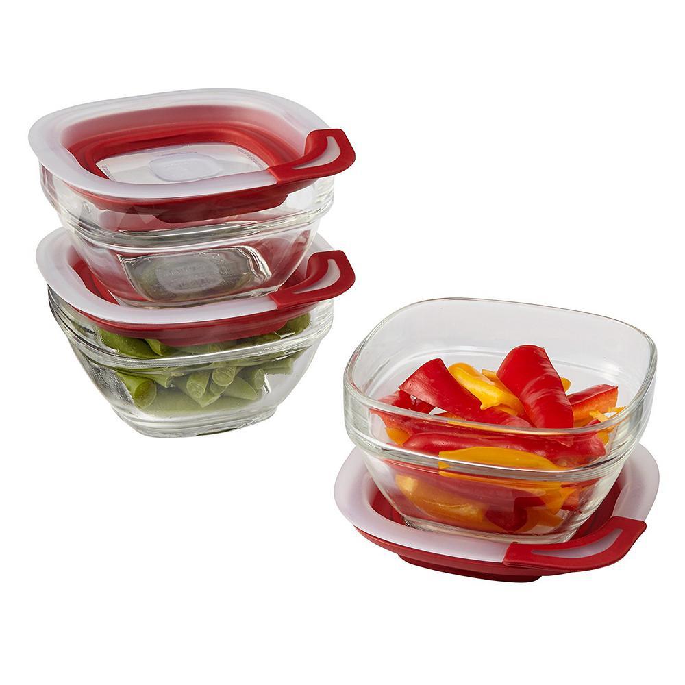 3-Piece Easy Find Glass Storage Container Set