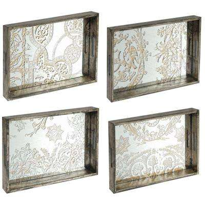 21 in. x 14 in. Decorative Tray in Rustic Brown (4-Pack)