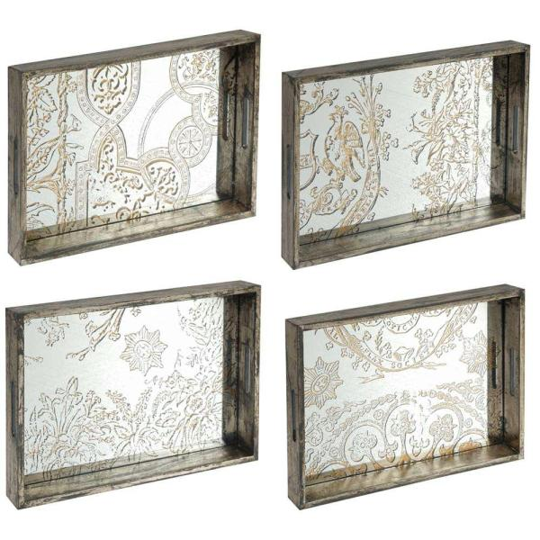 A & B Home 21 in. x 14 in. Decorative Tray in Rustic Brown (4-Pack)