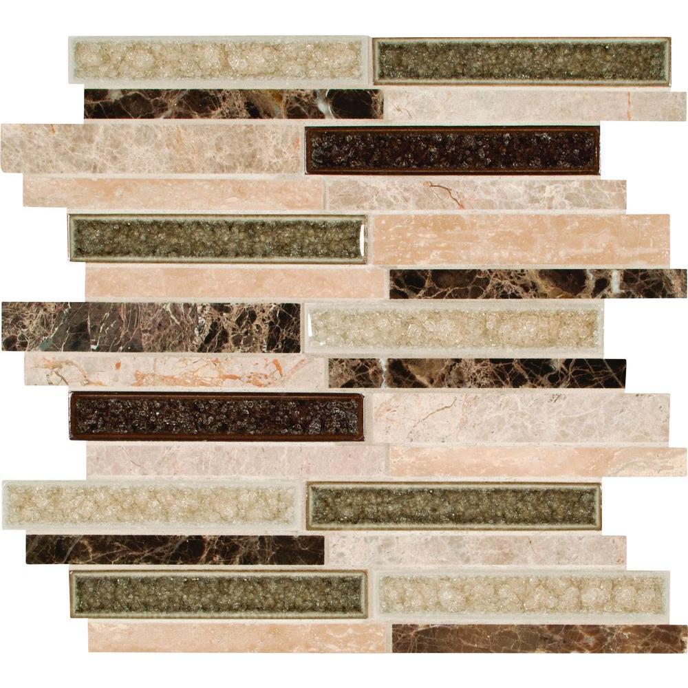MS International Stonegate Interlocking 12 in. x 12 in. x 8 mm Glass/Stone Blend Mesh-Mounted Mosaic Wall Tile