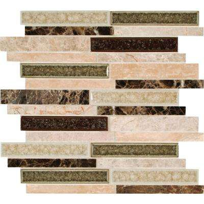Stonegate Interlocking 12 in. x 12 in. x 8mm Glass Stone Blend Mesh-Mounted Mosaic Wall Tile