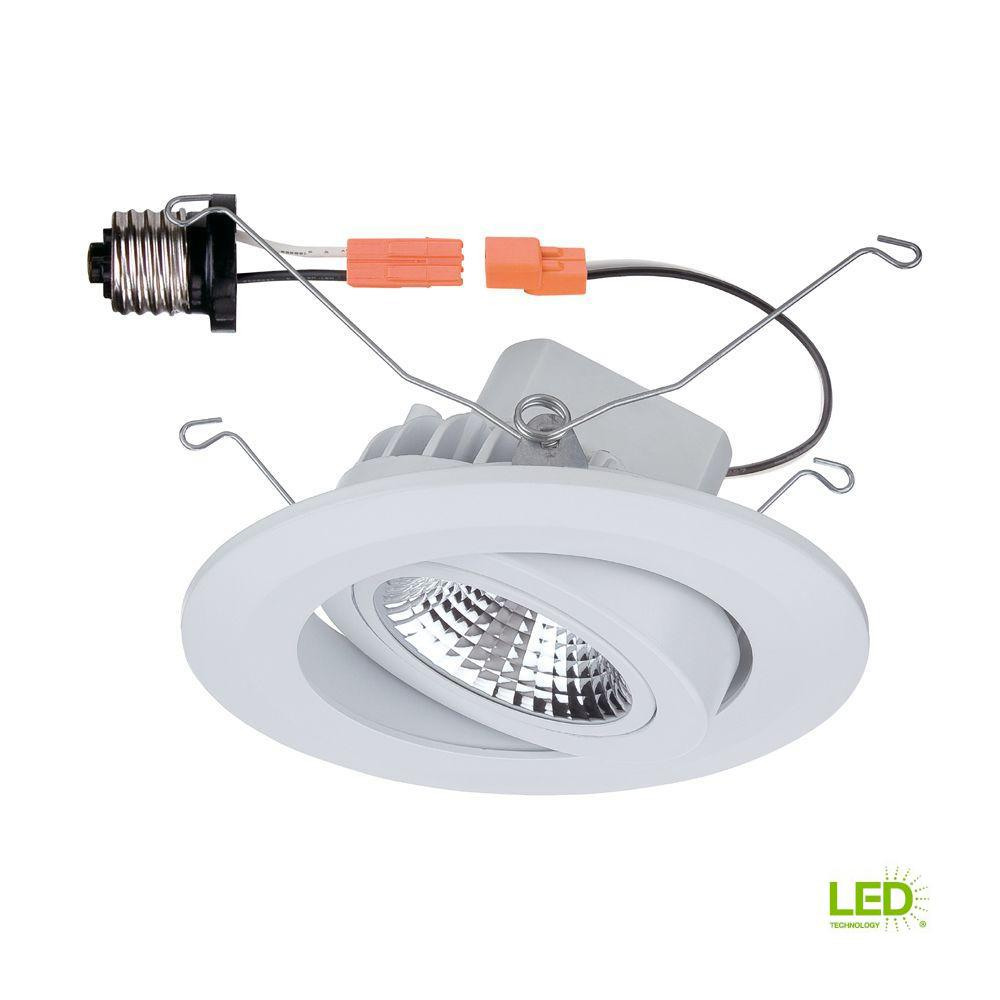 Commercial Outdoor Ceiling Lighting Fixtures: Commercial Electric 5 In. White LED Recessed Gimbal Trim
