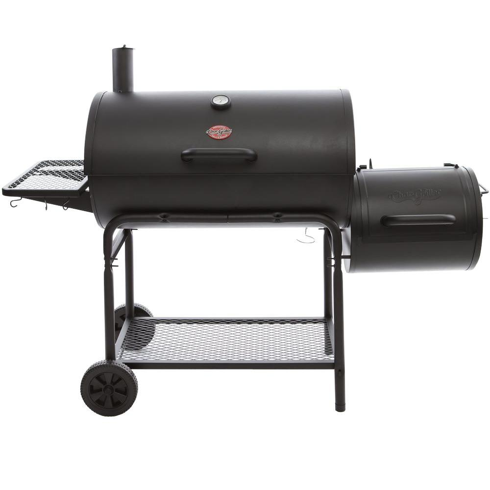 Char Griller Smokin Champ Charcoal Grill Horizontal Smoker In Black 1624 The Home Depot
