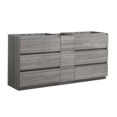 Lazzaro 72 in. Modern Double Bath Vanity Cabinet Only in Glossy Ash Gray