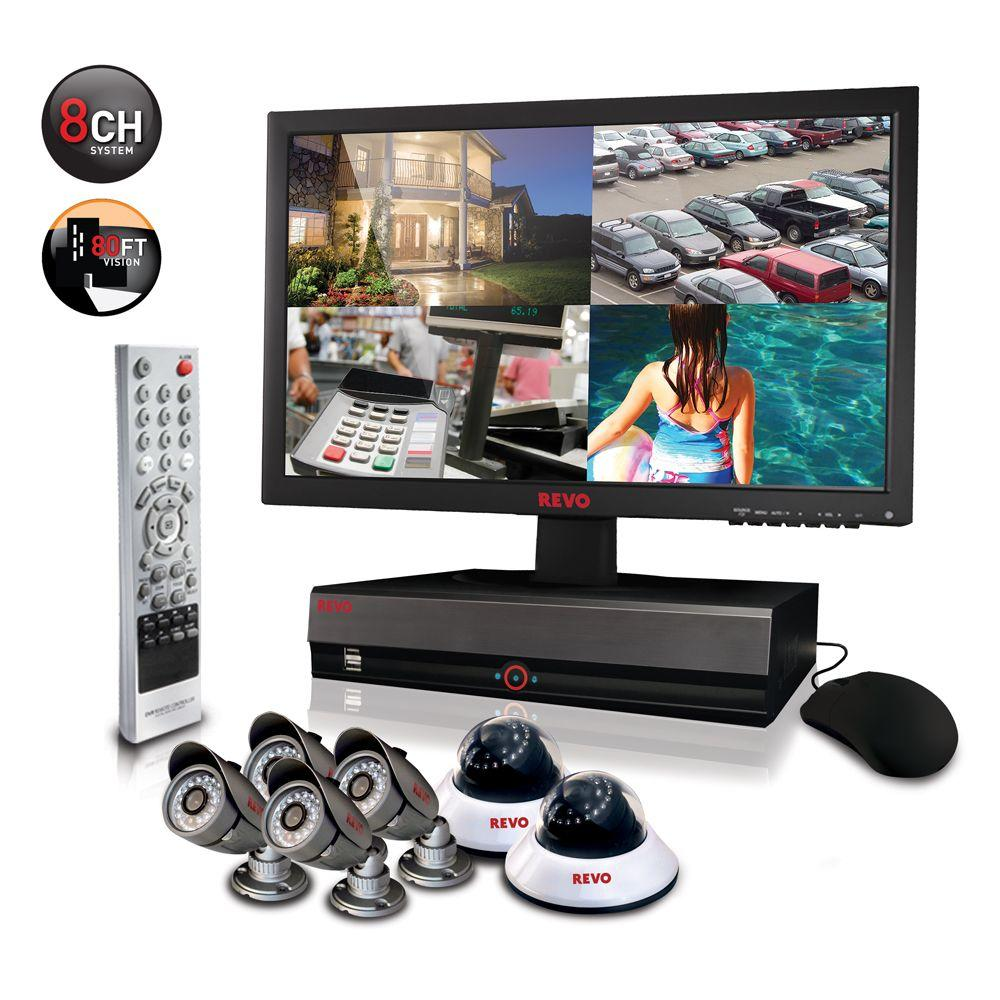 Revo 8-Channel 1TB DVR4 Surveillance System with 18.5 in. Monitor and (6) 600 TVL 80 ft. Night Vision Cameras