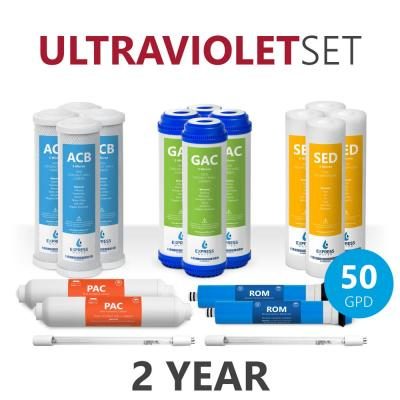 Express Water – 2 Year Ultraviolet Reverse Osmosis System Replacement Filter Set – 18 Filters with 50 GPD RO Membrane