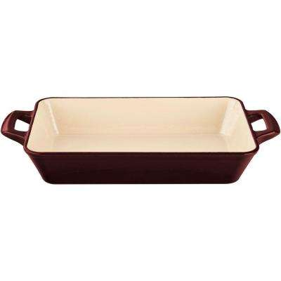 Large Deep Cast Iron Roasting Pan with Enamel Finish in Ruby