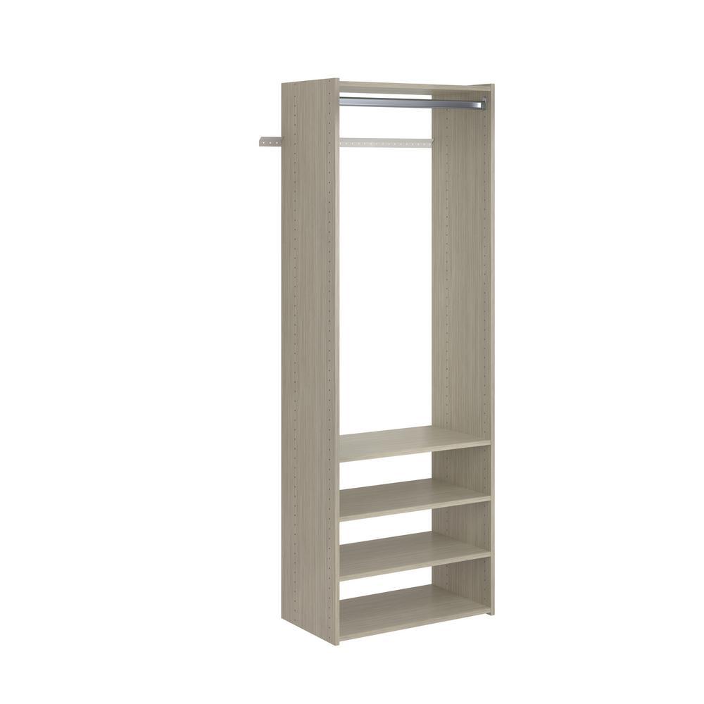 Select 25 in. W Rustic Grey Wood Closet Tower