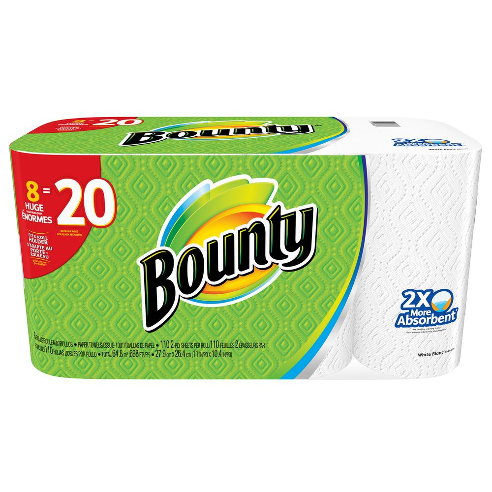 Bounty Full Sheet Paper Towels Giant Rolls: Bounty 2-Ply White Paper Towels (8 Huge Rolls