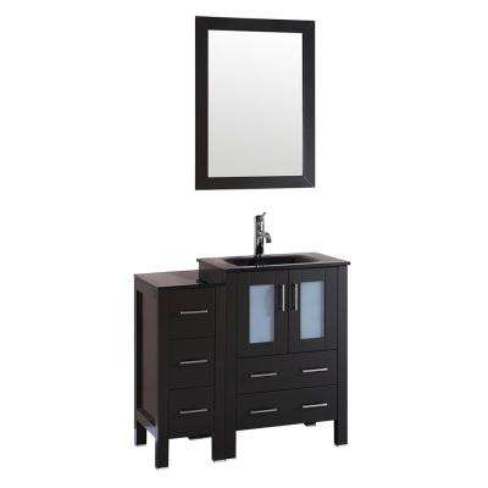 Bosconi 36 in. W Vanity in Espresso with Tempered Glass Vanity Top in Black with Black Basin