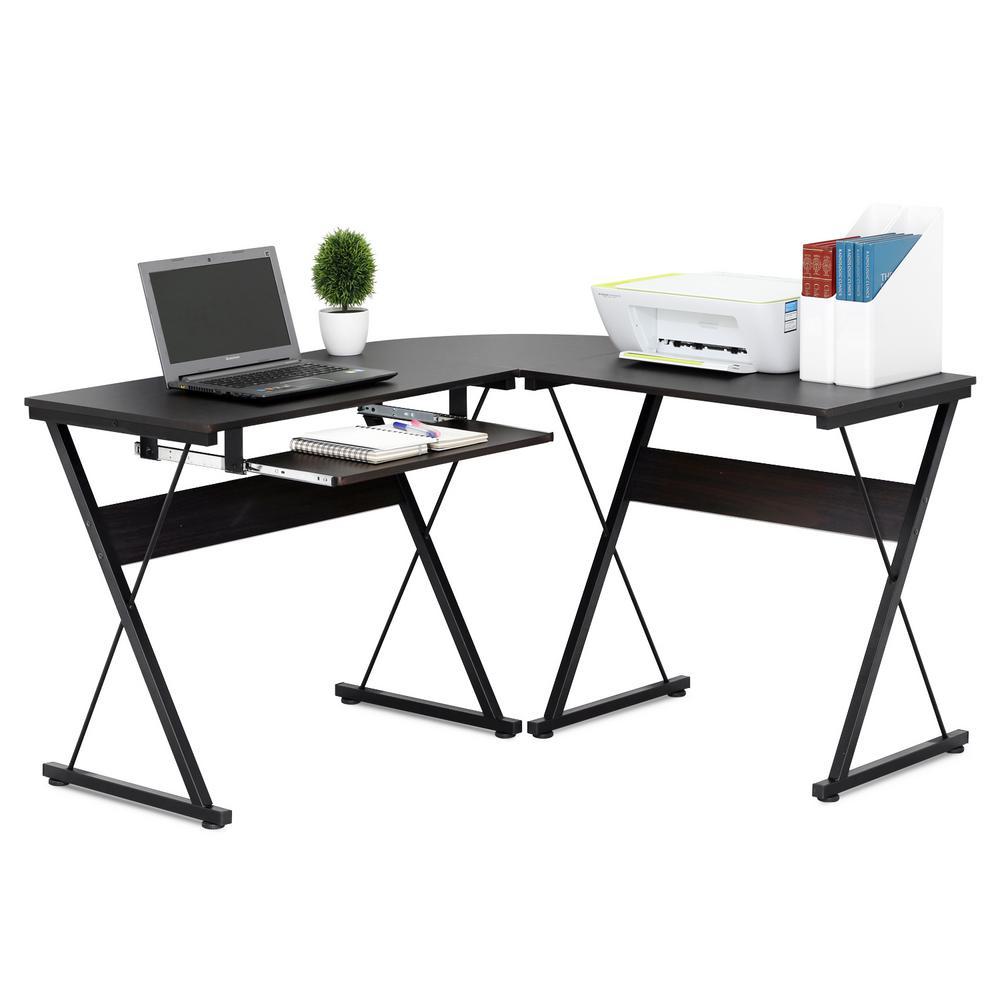 Besi Espresso L-Shape Metal Frame Computer Desk