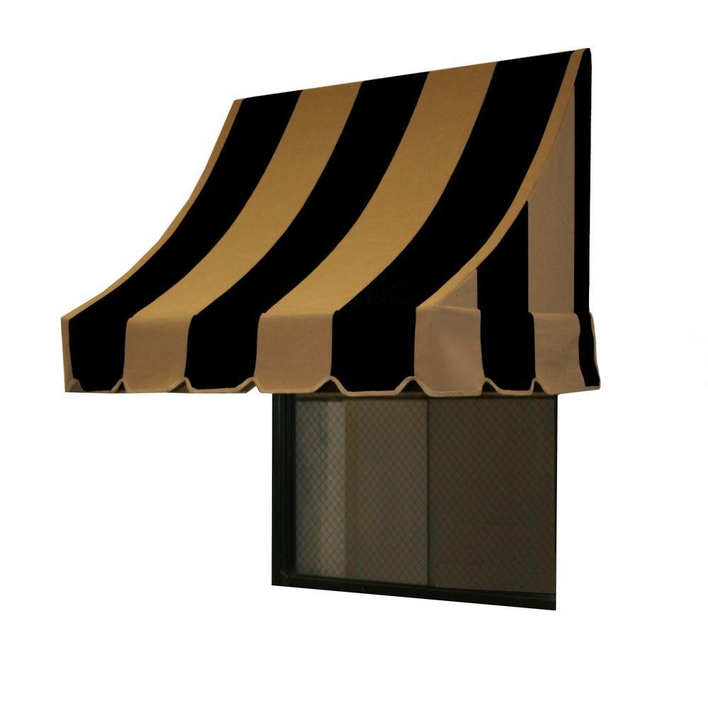 AWNTECH 30 ft. Nantucket Window/Entry Awning (44 in. H x 36 in. D) in Black/Tan Stripe