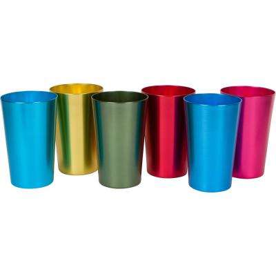 18 oz. 6-Piece Assorted Color Retro Aluminum Tumblers