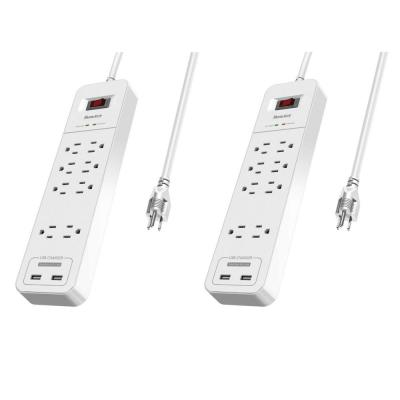 8-Outlets Surge Protector Power Strip 2 USB Ports 5-Volt/2.4 Amp 6 ft. Heavy-Duty Extension Cord (2-Pack)