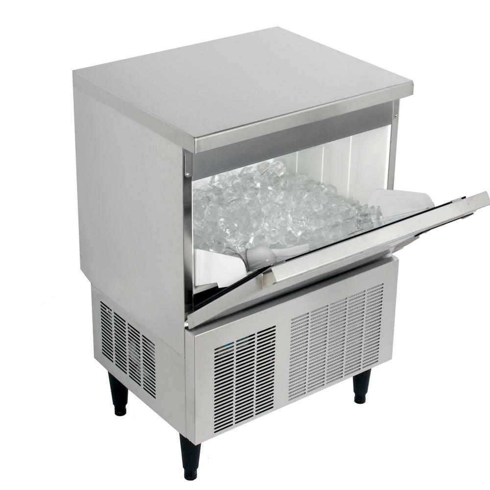 Kold Draft Cocktail Series 110 lb. Freestanding Ice Maker in Stainless Steel, Silver The KOLD-DRAFT Cocktail Series of Ice Machines provides consumers with a top-shelf choice for ice that matches their top-shelf beverage. The KOLD-DRAFT Cocktail Series produces a Large Cube measuring 1 x 1 x 1-1/4. The KOLD-DRAFT Cocktail Series consists of three machines with daily ice production of 50 lbs., 70 lbs. or 110 lbs. KOLDDRAFT equipment offers some of the best recovery rates in the industry, too. You get more ice, more often. Color: Stainless Steel.