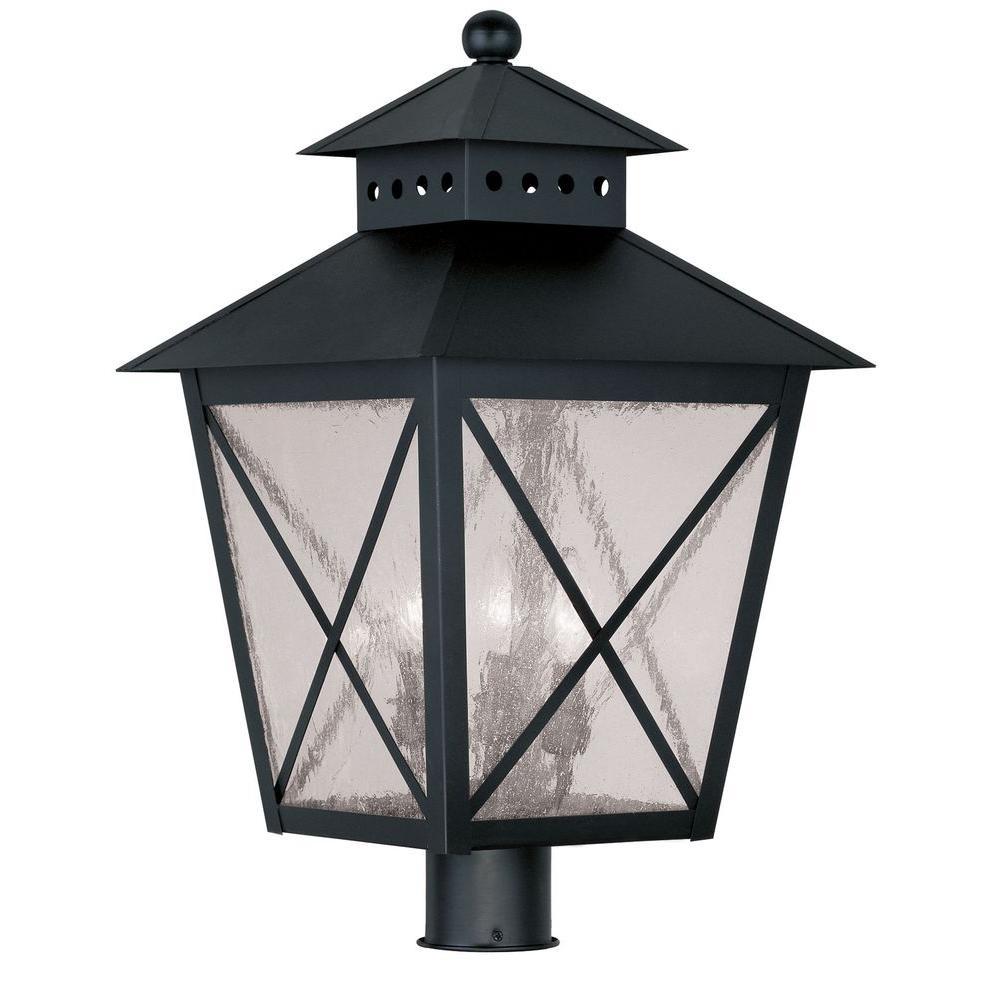 Livex Lighting Providence 3-Light 13 in. Outdoor Black Post Head Lantern