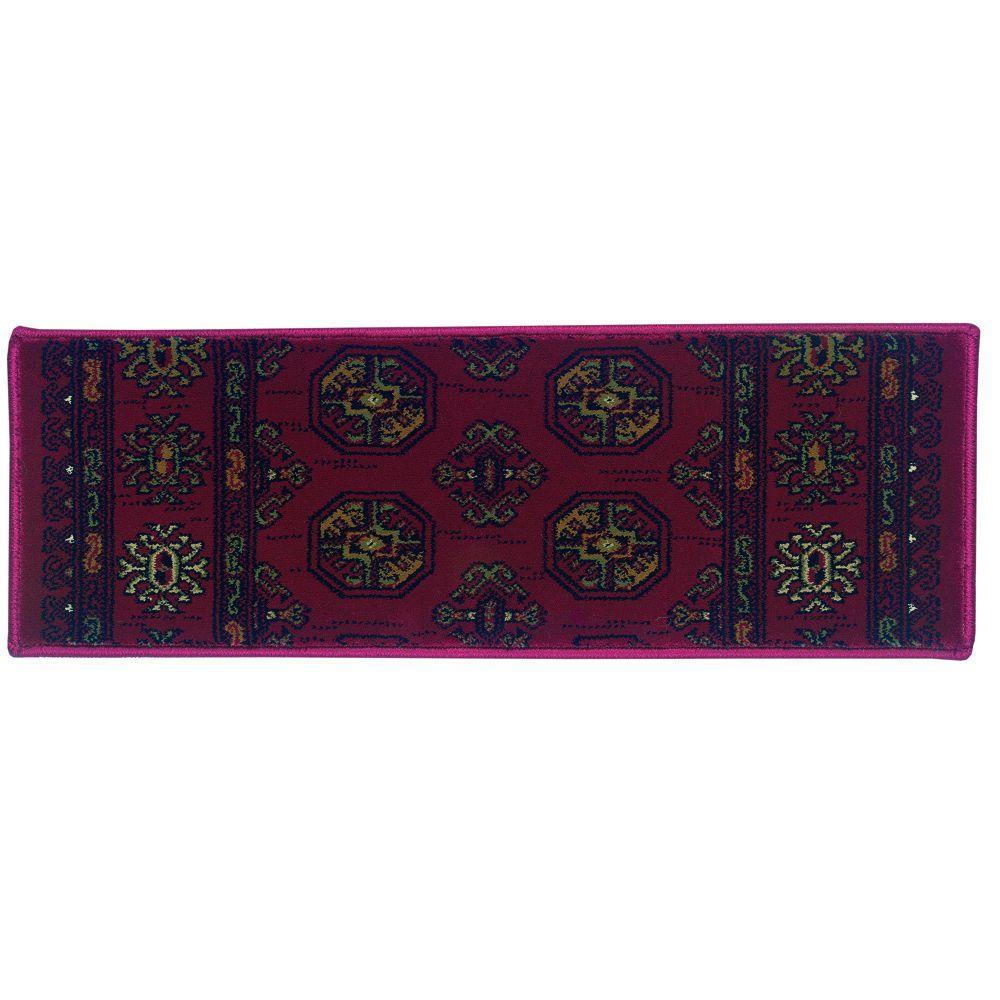 Natco Kurdamir Boukara Crimson 9 in. x 26 in. Stair Tread Cover