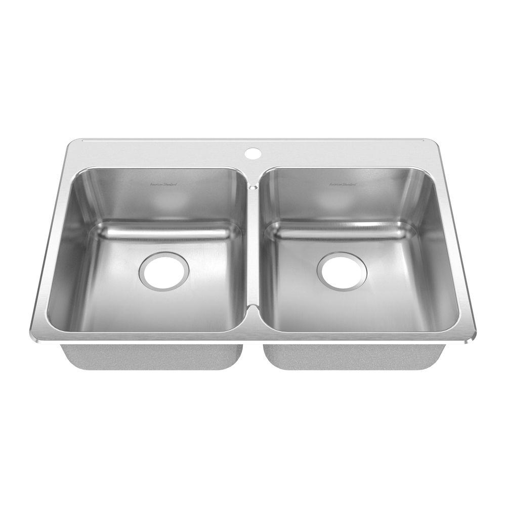 American Standard Prevoir Drop-In Brushed Stainless Steel 33.375x22x8 1-Hole Double Bowl Kitchen Sink-DISCONTINUED