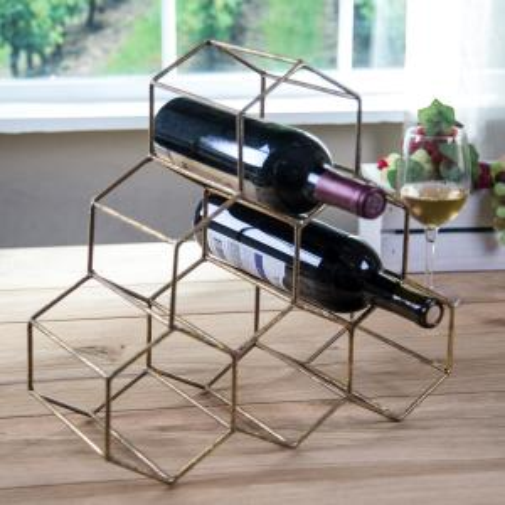 HOME ESSENTIALS & BEYOND Geometric 6-Bottle Wine Rack by HOME ESSENTIALS & BEYOND